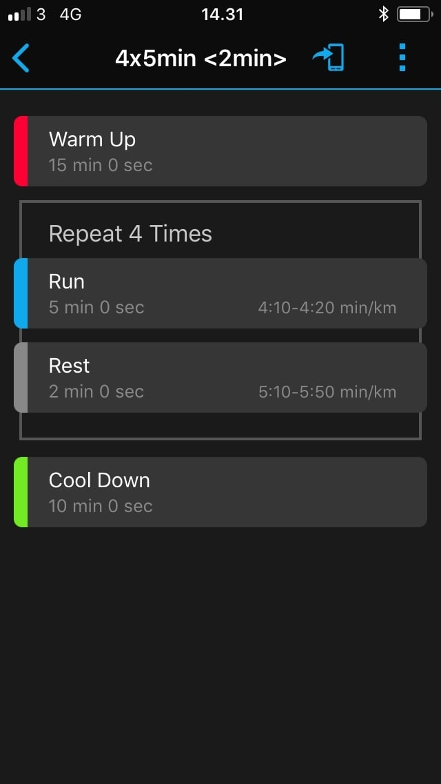 interval garmin connect