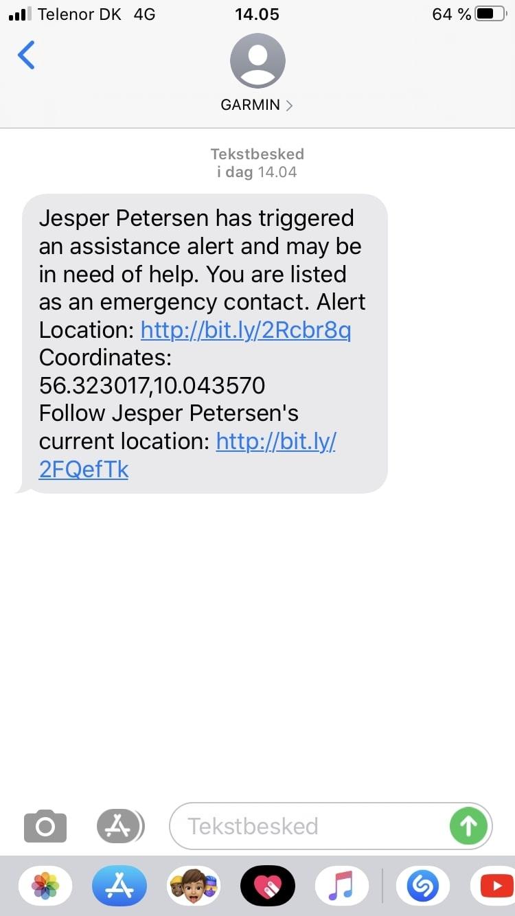 garmin incident detection message