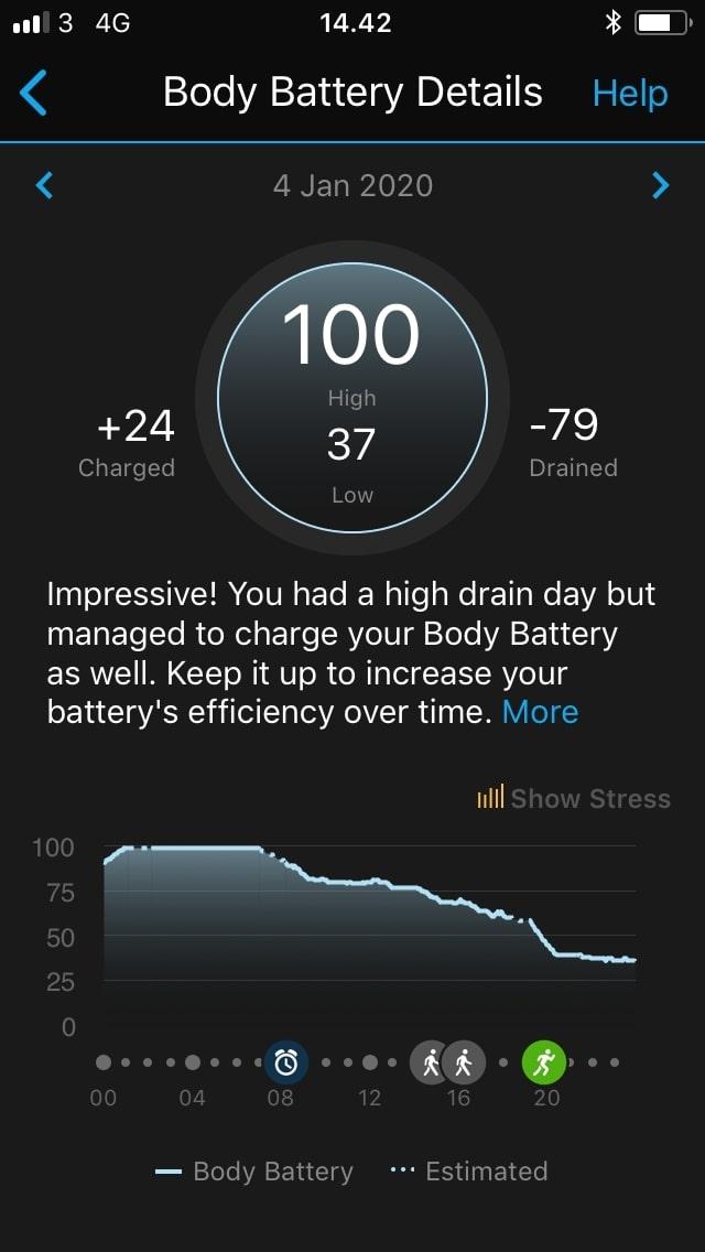 garmin connect statistik body battery