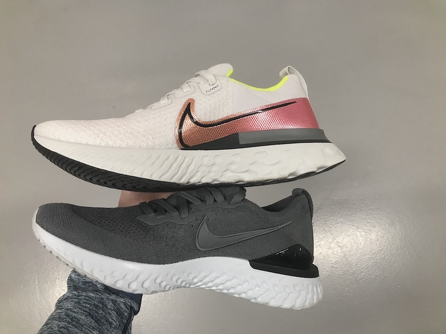 nike react infinity run flyknit vs. epic react flyknit 2 test