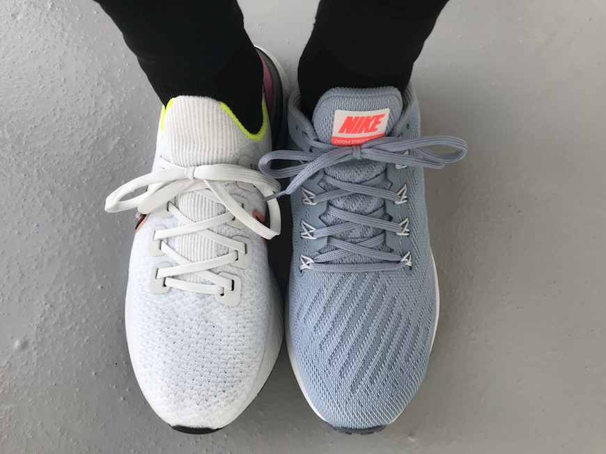 nike react infinity run flyknit vs. zoom structure 22 snørebånd
